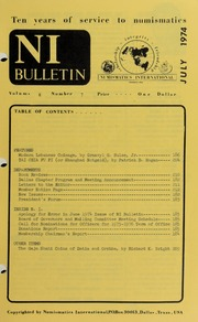 Numismatics International Bulletin, Vol. 8, No.7