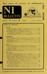 Numismatics International Bulletin, Vol. 8, No.8