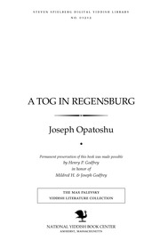 Thumbnail image for A ṭog in Regensburg un, Eliyahu Boḥer