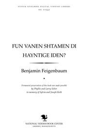 Thumbnail image for Fun ṿanen shṭamen di haynṭige Iden?, oder, Idishe melukhes̀ in Rusland un Arabyen