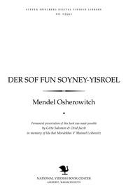 Thumbnail image for Der sof fun śoyney-Yiśroel : fun di Ḥashmenoyim biz Bar Kokhva