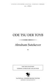 Thumbnail image for Ode tsu der ṭoyb