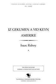 Thumbnail image for Iz geḳumen a yid ḳeyn Ameriḳe roman