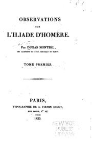 Vol 1: Observations sur l-Iliade d-Homère