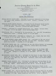 October, 1968, Talking Book Periodicals