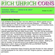 October 2017 - 1823/2 and 1827 Quarters Offered