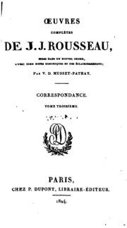 Vol 20: Oeuvres complètes de J. J. Rousseau: mises dans un nouvel ordre, avec des notes historiques et ...