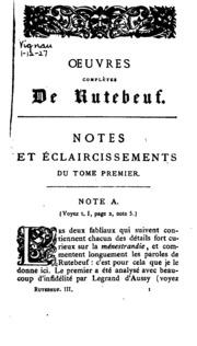 Vol 3: Oeuvres complètes de Rutebeuf, trouvère du XIII siècle