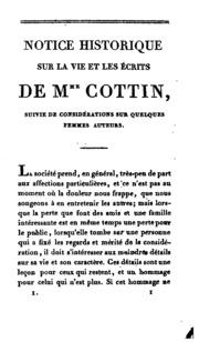 Vol 1: Oeuvres complètes de Mme Cottin