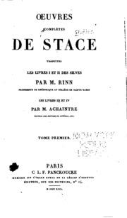 Vol 1: Oeuvres complètes de Stace