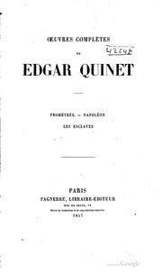 OEuvres complètes de Edgar Quinet ..