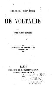 Vol 26: Oeuvres complètes de Voltaire