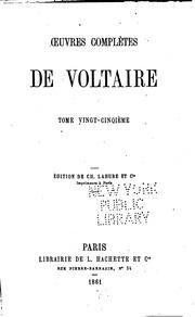 Vol 25: Oeuvres complètes de Voltaire