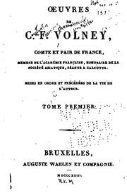 Vol 1-2: Oeuvres de C.-F. Volney: comte et pair de France ...