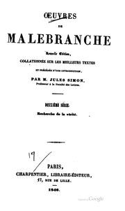 Vol 2: Oeuvres de Malebranche