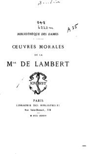 Oeuvres morales de la Mise de Lambert