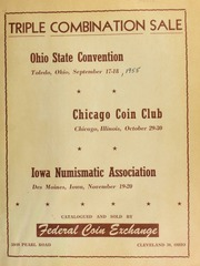 Ohio state numismatic association fall convention sales catalogue. [09/17-18/1955]