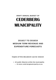 WC012 Cederberg draft Budget 2016-17
