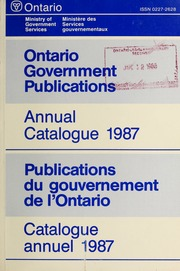 ontario government publications annual catalogue 1987 With government documents ontario
