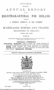 Fifty second detailed annual report of the registrar - Registry office of births marriages and deaths ...