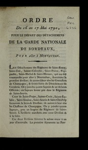 Ordre du 16 au 17 mai 1790 : pour le départ des détachemens de la Garde nationale de Bordeaux, pour aller à Montauban.