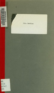 Otto Barblan, organiste et professeur, directeur de la Société de chant sacré de Genève. Notice publiée à l-occasion du 25me anniversaire de sa direction, 1892-1917
