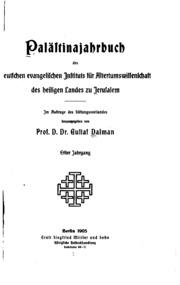 Vol 1: Palaestinajahrbuch des Deutschen evangelischen Instituts für ...
