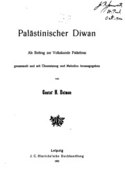 Palästinischer Diwan: Als Beitrag zur Volkskunde Palästinas