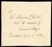 Paper fragment] To L. Maria Child with the respects of Samuel May. [manuscript