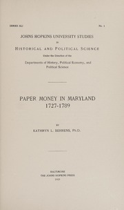 Paper Money in Maryland 1727-1789
