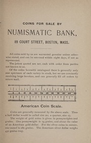 A Partial List of Coins Kept in Stock by the Numismatic Bank