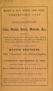 Peremptory sale of a collection of coins, medals, relics, minerals &c. ... [12/21/1869]