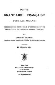 Petite grammaire française pour les anglais: accompagnée d-une série d-exercices et de ...