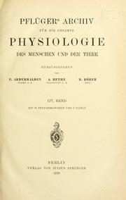 Vol bd. 177 1919: Pflügers Archiv für die gesamte Physiologie des Menschen und der Tiere