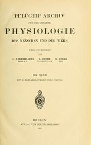 Vol bd. 186 1921: Pflügers Archiv für die gesamte Physiologie des Menschen und der Tiere