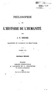 Vol 3: Philosophie de l-histoire de l-humanité