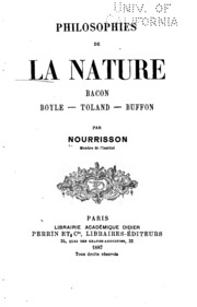 Philosophies de la nature: Bacon, Boyle, Toland, Buffon