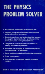 the statistics problem solver research and education association  borrow the physics problem solver