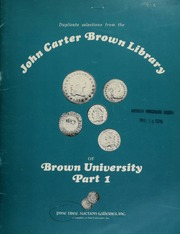 Pine Tree Auction Galleries, Inc. proudly presents duplicate selections from the John Carter Brown Library of Brown University ..., Part I, to be sold by public and mail auction ... [05/20-21/1976]