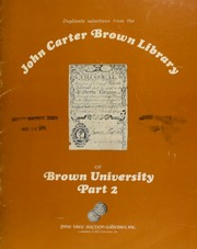 Pine Tree Auction Galleries, Inc. proudly presents duplicate selections from the John Carter Brown Library of Brown University ..., Part II, to be sold by public and mail auction ... [05/22/1976]