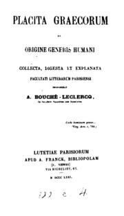 Placita Graecorum de origine generis humani collecta, digesta et explanta facultati litterarum ...