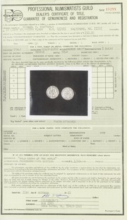 Professional Numismatists Guild: Dealer's Certificate of Title, Guarantee of Genuineness and Registration