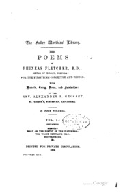 the poems of phineas fletcher for the first time collected and  vol 1 the poems of phineas fletcher for the first time collected and edited memoir essay and notes