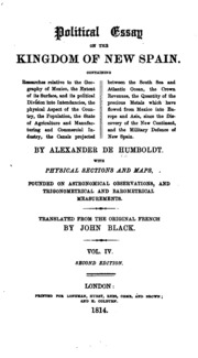 political essay on the kingdom of new spain humboldt alexander vol 4 political essay on the kingdom of new spain