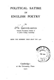 Political Satire In English Poetry Previte Orton Charles