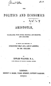 the politics and economics of aristotle translated notes  vol 10 the politics and economics of aristotle