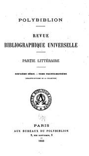 Vol 68: Polybiblion: Revue bibliographique universelle
