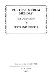portraits from memory and other essays bertrand russell  portraits from memory and other essays