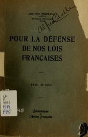 Pour la defense de nos lois francaises