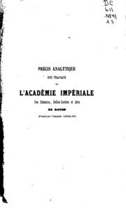 Précis analytique des travaux de l-Academie des Sciences, Belles-lettres et Arts de Rouen